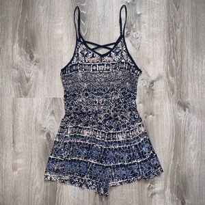 Angie Boho Printed Strappy Romper Blue Multi